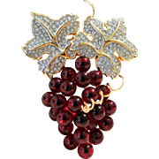 RESERVED FOR TIM-----Vintage Swarovski S.A.L. Cherry Red Grapes Brooch Pin