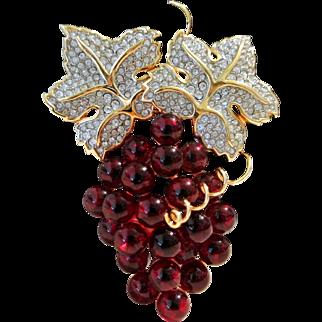 Vintage Swarovski S.A.L. Cherry Red Grapes Brooch Pin