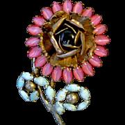 Vintage Pink Moonglow Flower Art Deco Brooch Pin