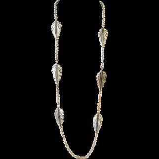 Vintage Silver Tone Metal Leaf Necklace