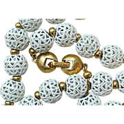 Vintage Monet Filigree White Metal Ball Necklace
