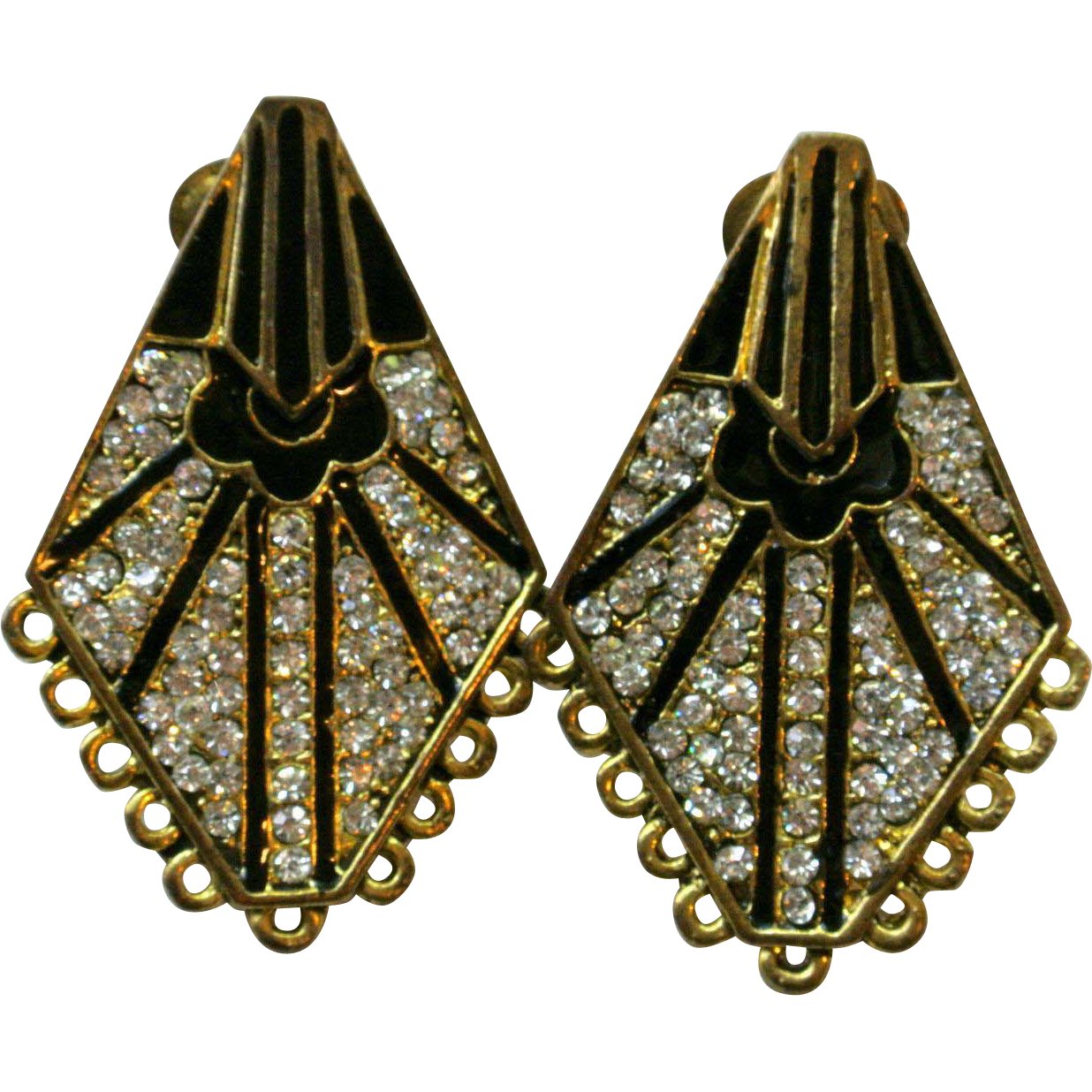 Vintage art deco style rhinestones earrings sold on ruby lane for Deco style retro