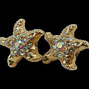 Vintage Golden Rhinestones Starfish Earrings