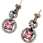 Vintage Sterling Silver, Pink Zircon And Clear Rhinestones Earrings