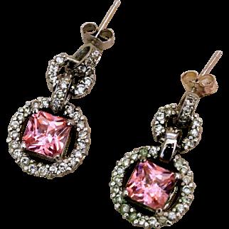 Vintage Sterling Silver, Pink Zircon And Clear Rhinestones Earrings