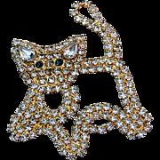 Vintage Agatha Rhinestone Kitty Brooch/Pin
