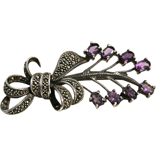 Vintage Amethyst, Marcasities And Sterling Silver Brooch Pin