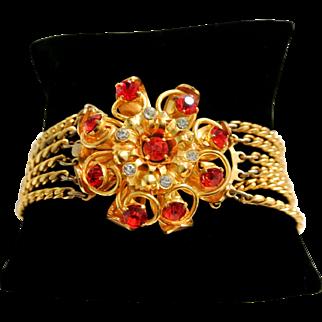 Vintage Red And Clear Rhinestone Bracelet