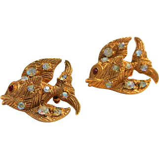 Vintage Pair Rhinestone Studded Fish Brooches/Pins