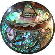 Vintage Mexican Sterling Abalone Brooch/Pin/Pendant