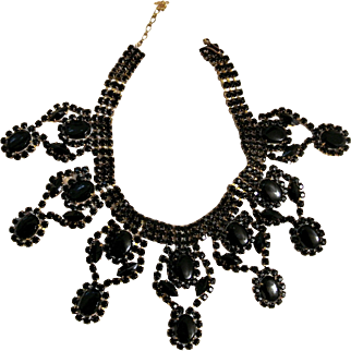 Vintage Black Czech Rhinestone Necklace