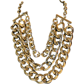 Vintage Three Strands Heavy Goldtone Chains Necklace