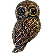 Vintage Rhinestone Owl Ring