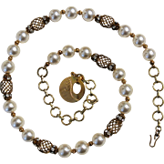Vintage Faux Pearls And Rhinestones Necklace
