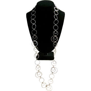 Vintage Silver Tone Circles Necklace