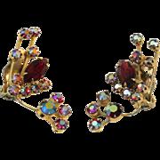 Vintage Red Aurora Borealis Rhinestones Clip-On Earrings