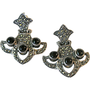 Vintage Sterling Silver, Marcasites And Black Onyx Pierced Earrings