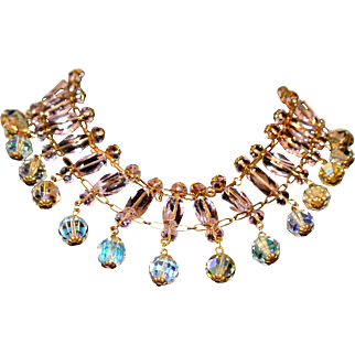 Vintage Pale Pink And Aurora Borealis Crystal Choker Necklace