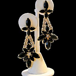 Vintage Black Rhinestones Pierced Dangling Earrings