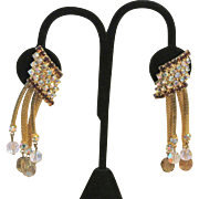 Vintage Hobe Rhinestones, Chains And Crystals Earrings