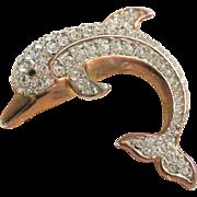 Vintage Rhinestone Dolphin Brooch Pin