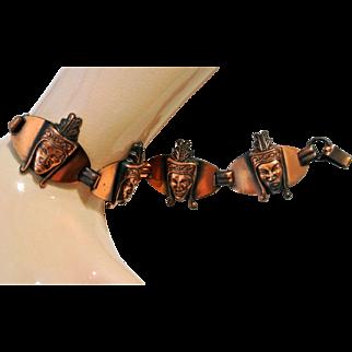 Vintage Copper Faces Warrior Prince Bracelet