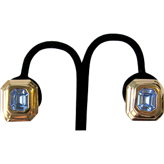 Vintage Ciner Blue Crystal Earrings