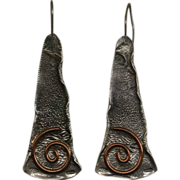 Vintage Handmade Sterling Silver And Copper Earrings