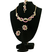 Vintage Coro Parure Pink Rhinestones Necklace, Bracelet And Earrings Set