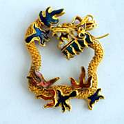 Vintage Dragon Enamel And Goldtone Pendant