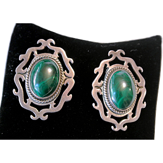 Vintage Malachite And Sterling Silver Clip-On Earrings