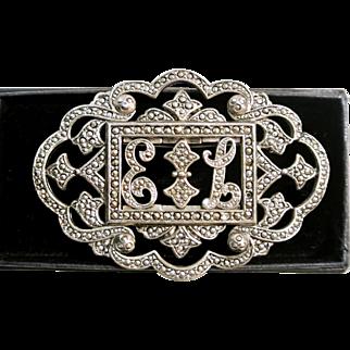 Vintage Miriam Haskell Monogram Cut Steel Marcasite Initial Brooch Pin