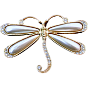 Vintage Faux Pearls And Rhinestones Dragonfly Brooch Pin