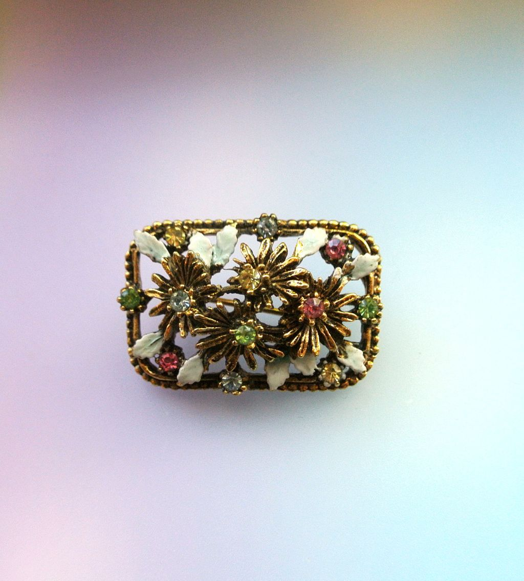 Vintage Signed Capri Enamel And Rhinestone Brooch  Pin From