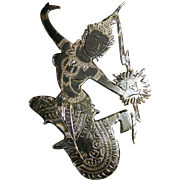 Vintage Siam Sterling Silver Black Nielloware Enamel Brooch/Pin