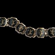 Vintage Siam Sterling Silver Black Nielloware Enamel Bracelet