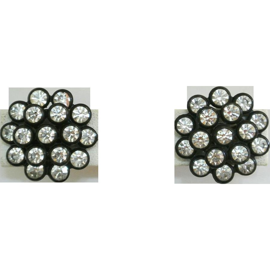 Rhinestone Earrings Vintage 72