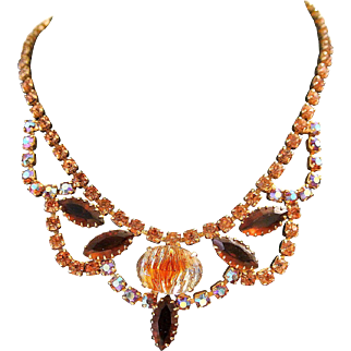 Vintage Givre Topaz And Aurora Borealis Rhinestones Necklace