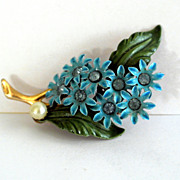 Vintage Enamel And Rhinestone Brooch