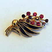 Vintage M.Lent Rhinestone Flower And Enamel Brooch Pin