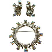 Vintage Coro Demi Parure Brooch And Earring Set