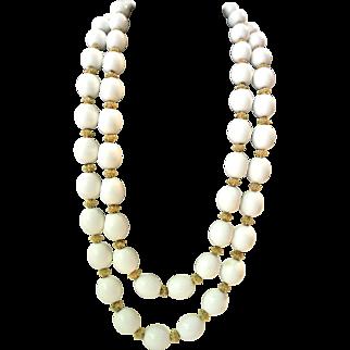 Vintage Trifari White Bead Necklace