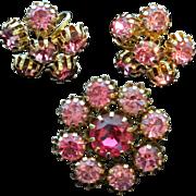 Vintage Pink Rhinestones Brooch And Earrings Set