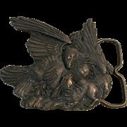 "Solid Brass ""Bergamot Brass Works 1974"" Eagle And Bunny Belt Buckle"