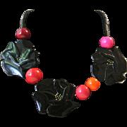 Vintage Isadora Paris Galalith Black Anemone Necklace