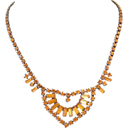 Vintage Czech Golden Topaz Rhinestone Necklace