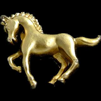 Vintage Galloping Horse Brooch Pin