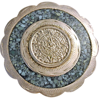 Vintage Aztec/Mayan Calendar Sterling Silver And Turquoise Chips Brooch/Pendant