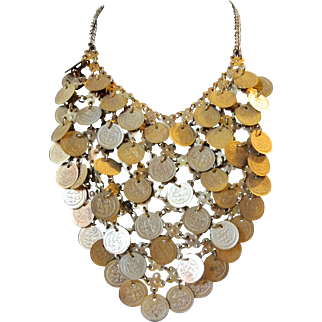 Vintage Gypsy Middle Eastern Coin Bib Necklace