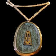 Vintage Enameled Brass Hand Made In Israel Violin Musical Instrument Necklace